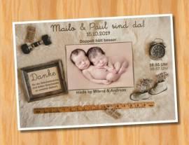 Danksagungskarten Geburt Geburtskarten Zwillinge 11 - Bild vergrößern