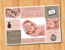 Ausgefallene Babykarten cute Baby Danksagungskarten Geburt 426 - Bild vergrößern