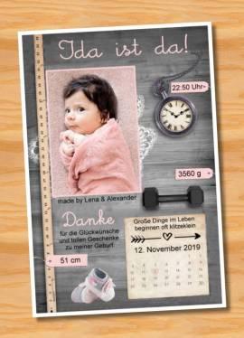 Ausgefallene Babykarten cute Baby Danksagungskarten Geburt 417 - Bild vergrößern