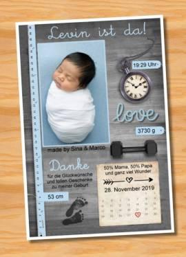 Ausgefallene Babykarten cute Baby Danksagungskarten Geburt 431 - Bild vergrößern