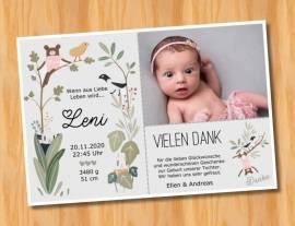 Ausgefallene Baby cute  Danksagungskarten Danksagungen Geburt 494 - Bild vergrößern