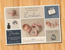 Ausgefallene Baby cute  Danksagungskarten Danksagungen Geburt 506 - Bild vergrößern