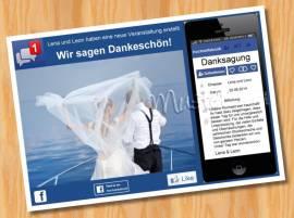 Danksagungskarten Danksagungen Hochzeit MUSTER 18  - Bild vergrößern