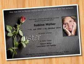 Trauerkarten Einladung MUSTER 4  - Bild vergrößern