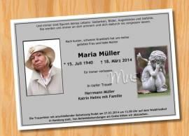 Trauerkarten Einladung MUSTER 3  - Bild vergrößern