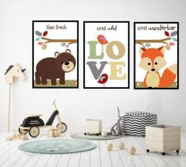 Wandbilder Poster 3er Set Kinderzimmer Design 1 - Bild vergrößern