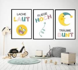 Wandbilder Poster 3er Set Kinderzimmer Design 3 - Bild vergrößern