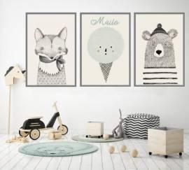 Wandbilder Poster 3er Set Kinderzimmer Design 5 - Bild vergrößern
