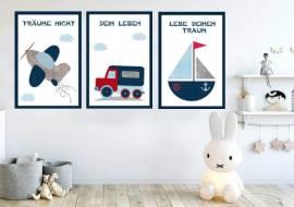 Wandbilder Poster 3er Set Kinderzimmer Design 6 - Bild vergrößern