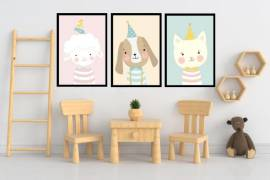 Wandbilder Poster 3er Set Kinderzimmer Design 7 - Bild vergrößern