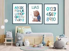 Wandbilder Poster 3er Set Kinderzimmer Lernposter ABC 8 - Bild vergrößern