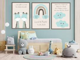 Wandbilder Poster 3er Set Kinderzimmer Baby Zwillinge Geburt Geburtsdaten 10 - Bild vergrößern