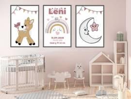 Wandbilder Poster 3er Set Kinderzimmer Baby Geburt Geburtsdaten 9 - Bild vergrößern