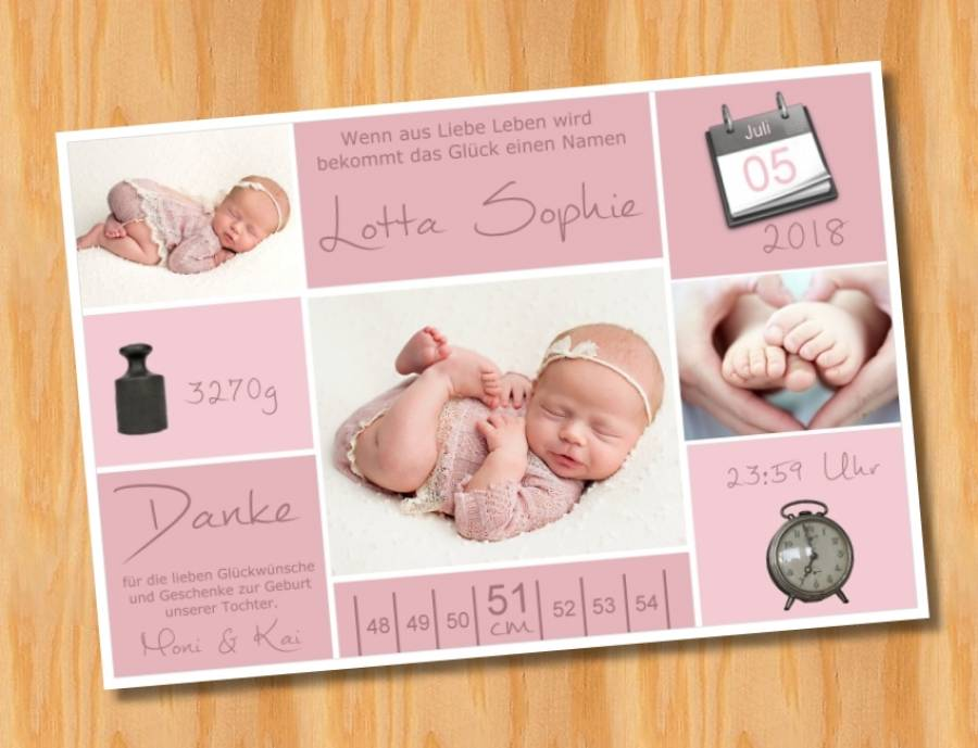 Babykarten.Ausgefallene Babykarten Dankeskarten Geburt 266