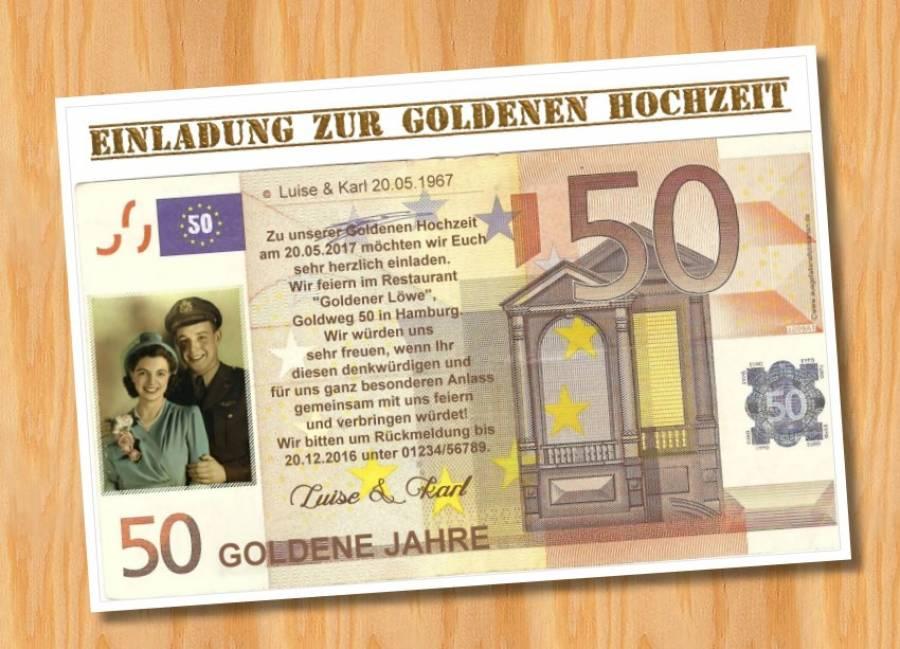 Einladungskarten Goldene Hochzeit 2